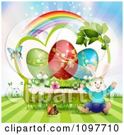 Clipart Jolly Easter Bunny Over A Green Frame With Blossoms Eggs And Butterflies And A Rainbow Royalty Free Vector Illustration by merlinul