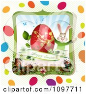 Clipart Greeting And Easter Bunny With A Red And Gold Egg In A Butterfly Frame With Stripes And Colorful Eggs Royalty Free Vector Illustration by merlinul