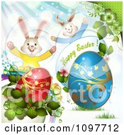 Happy Easter Greeting With Two Rabbits Eggs And Spring Plants