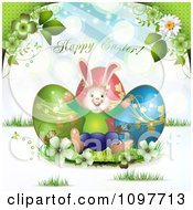 Happy Easter Greeting Over Three Eggs Flowers And A Bunny
