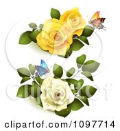 Yellow And White Roses With Butterflies And Leaves