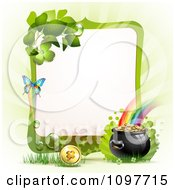 Clipart Green Butterfly Frame With A St Patricks Day Pot Of Gold At The End Of A Rainbow Royalty Free Vector Illustration by merlinul #COLLC1097715-0175