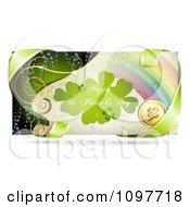 Rainbow Happy St Patricks Day Banner With Green Ribbon And A Gold Clover Coin