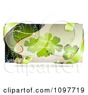 Happy St Patricks Day Banner With Green Ribbon And A Shamrock