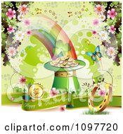 Clipart Happy St Patricks Day Greeting Banner With The End Of The Rainbow And Lucky Items Royalty Free Vector Illustration