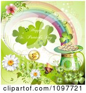 Clipart Happy St Patricks Day Greeting At The End Of The Rainbow And Lucky Items Royalty Free Vector Illustration