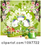 Happy St Patricks Day Banner With A Shamrock Rainbow Gold And Spring Blossoms