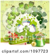 Clipart Happy St Patricks Day Banner With Gold Shamrocks And Rainbow Royalty Free Vector Illustration