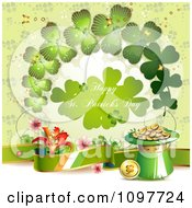 Happy St Patricks Day Greeting With Shamrocks An Irish Banner And Gold