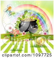 Butterfly And Rainbow Over A Happy St Patricks Day Greeting Banner With A Pot Of Gold