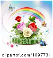 Clipart Rose Garden With Butterflies And A Magical Rainbow Royalty Free Vector Illustration by merlinul