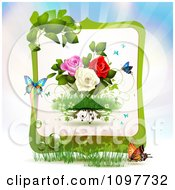Clipart Spring Roses Framed In Green With Butterflies And Rays Royalty Free Vector Illustration