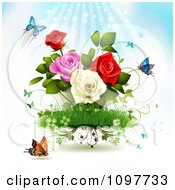 Clipart Rose Garden With Butterflies And Rays Royalty Free Vector Illustration by merlinul