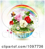 Clipart Planter Of Spring Flowers With A Butterfly And Rainbow Royalty Free Vector Illustration