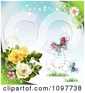 Clipart Rose And Blossom Background With Butterflies On Blue Royalty Free Vector Illustration by merlinul