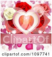 Pink Valentines Day Banner With A Heart And Roses