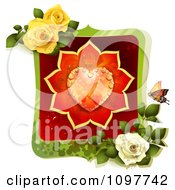 Clipart Valentines Day Or Wedding Frame With A Dewy Orange And Red Rose Heart Butterfly And Roses Royalty Free Vector Illustration