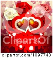 Red Valentines Day Banner With Red Hearts And Dewy Roses