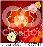 Red Valentines Day Banner With A Dewy Floral Heart And Roses On Red