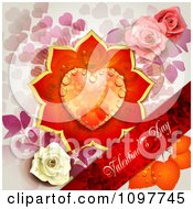 Red Valentines Day Banner With A Dewy Floral Heart And Roses