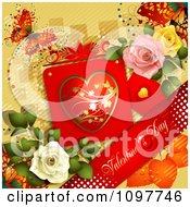 Clipart Valentines Day Banner With Dewy Roses A Card And Butterfly On Yellow Royalty Free Vector Illustration