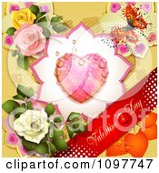 Red Valentines Day Banner With A Butterfly Dewy Heart And Roses Over Yellow