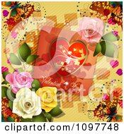 Clipart Valentines Day Card With Dewy Colorful Roses And Butterflies On Yellow Royalty Free Vector Illustration