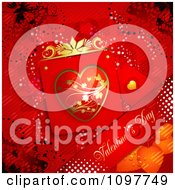 Clipart Heart Valentines Day Card And Banner And Butterflies On Red 1 Royalty Free Vector Illustration