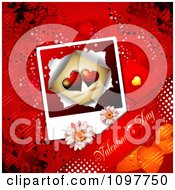 Heart Valentines Day Photo Banner And Butterflies On Red