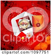 Clipart Heart Valentines Day Card And Banner And Butterflies On Red 2 Royalty Free Vector Illustration
