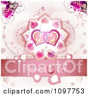 Pink Valentines Day Banner With Two Hearts And Butterflies 3
