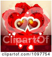 Red Valentines Day Banner With Red Hearts And Roses
