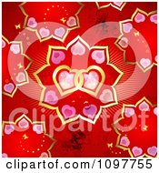 Seamless Red Pink And Gold Valentines Day Background With Black Butterflies