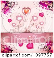 Pink Valentines Day Banner With Butterflies And Heart Flowers