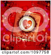 Clipart Heart Valentines Day Card And Butterflies On Red 4 Royalty Free Vector Illustration
