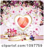 Pink Valentines Day Banner With A Butterfly Heart And Blossoms 1