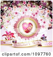 Pink Valentines Day Banner With A Butterfly Heart And Blossoms 2