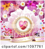 Pink Valentines Day Banner With A Butterfly Heart And Blossoms 3