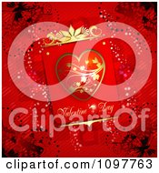 Clipart Heart Valentines Day Card And Butterflies On Red 1 Royalty Free Vector Illustration