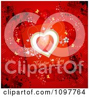 Clipart Heart Valentines Day Card And Butterflies On Red 2 Royalty Free Vector Illustration