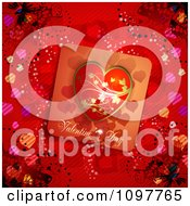 Clipart Heart Valentines Day Card And Butterflies On Red 3 Royalty Free Vector Illustration