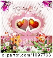 Valentines Day Text With Butterflies Red Hearts And Blossoms