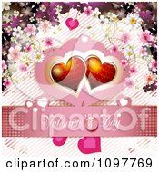 Pink Valentines Day Banner With Two Red Hearts And Blossoms