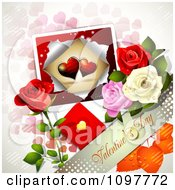 Valentines Day Banner With Colorful Dewy Roses And A Card Over Pink Hearts