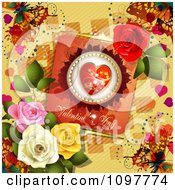 Clipart Heart Valentines Day Card With Beautiful Roses And Butterflies On Yellow Royalty Free Vector Illustration