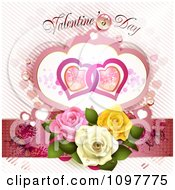 Valentines Day Text Over Butterflies Entwined Hearts And Roses