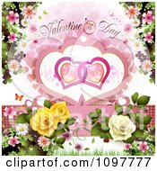 Valentines Day Text Over Entwined Hearts Blossoms And Roses