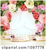 Clipart Valentines Day Banner And Frame Of Dewy Roses Royalty Free Vector Illustration