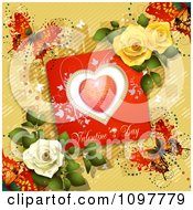Clipart Valentines Day Card With Dewy Roses And Butterflies On Yellow Royalty Free Vector Illustration