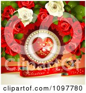 Heart And Rose Valentines Day Background With A Red Banner And Butterfly